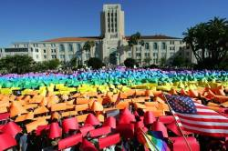 85748 Thumbnail of: Supporters of same-sex marriage form a living rainbow in front of the San Diego County Administration Center on Harbor Drive.jpg